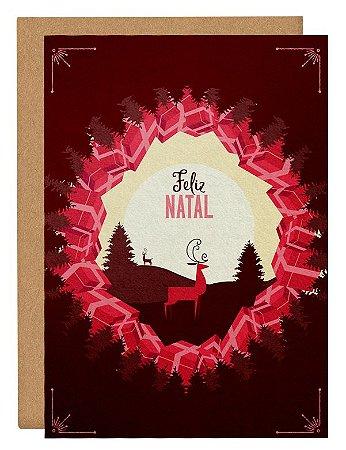 Cartão Natal luar - rosa