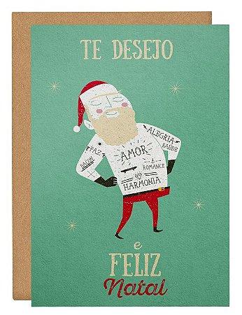 Cartão Papai Noel tatoo - branco