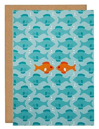 Cartão Peixes apaixonados