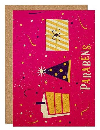 Cartão Vai ter bolo - rosa