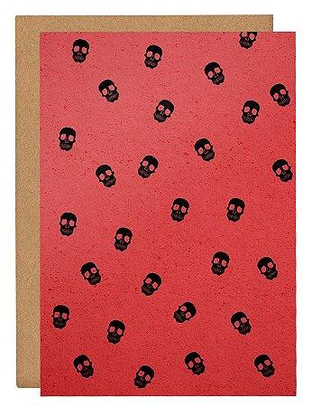 Cartão Halloween Caveiras - vermelho