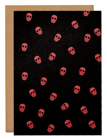 Cartão Halloween Caveiras - preto