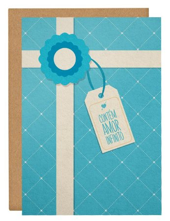 Cartão Contém amor - azul