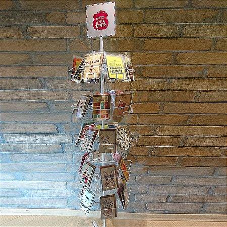 Expositor de cartões rotativo com 5 andares