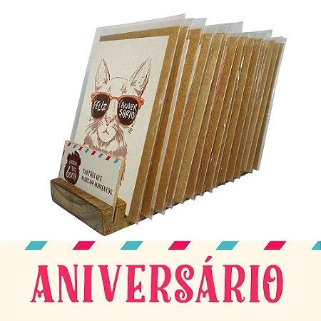 Kit Expositor de Balcão com 30 Cartões Comemorativos de Aniversário