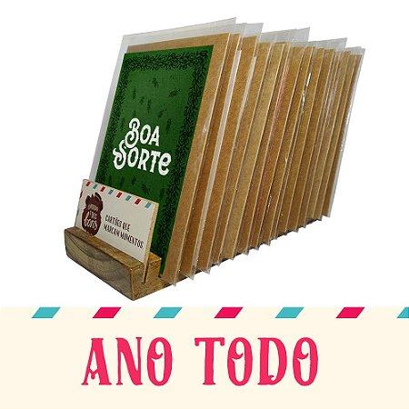 Kit Expositor de Balcão com 30 Cartões Comemorativos para o Ano Todo