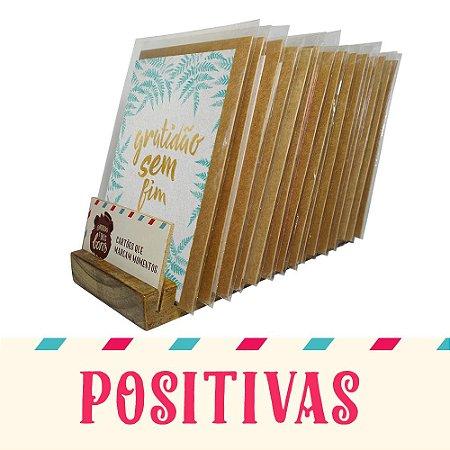 Kit Expositor de Balcão com 30 Cartões Comemorativos com Mensagens Positivas