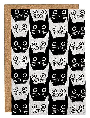 Cartão Gato Preto e Branco