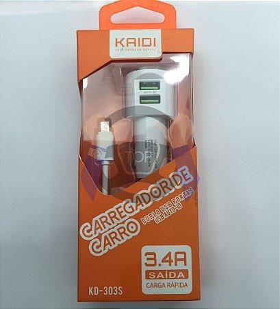 Carregador Veicular - Carga Rápida - 3.4 AMP - Kaidi  android