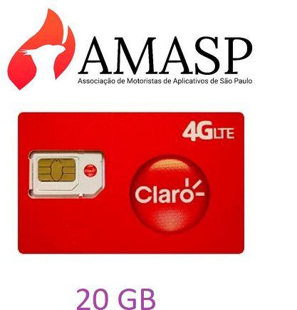 Chip CLARO+ Plano 20GB  AMASP DDD 11 (R$99,80 por mês)