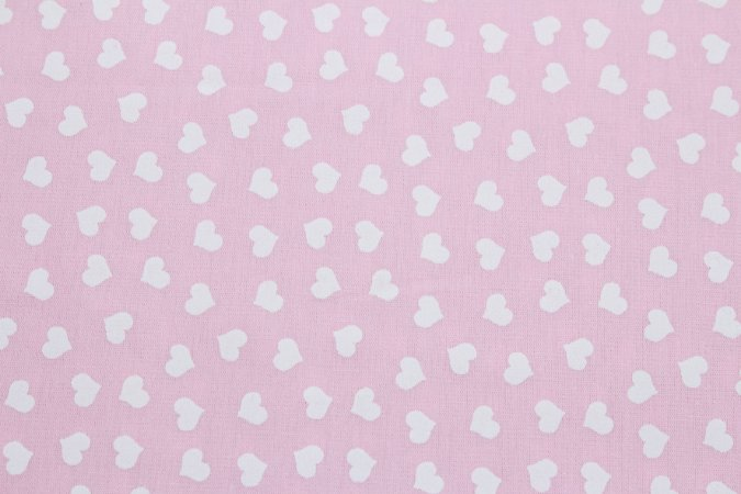 Tricoline Mini Corações Brancos Fundo Rosa ( 0,50 m x 1,40 m )