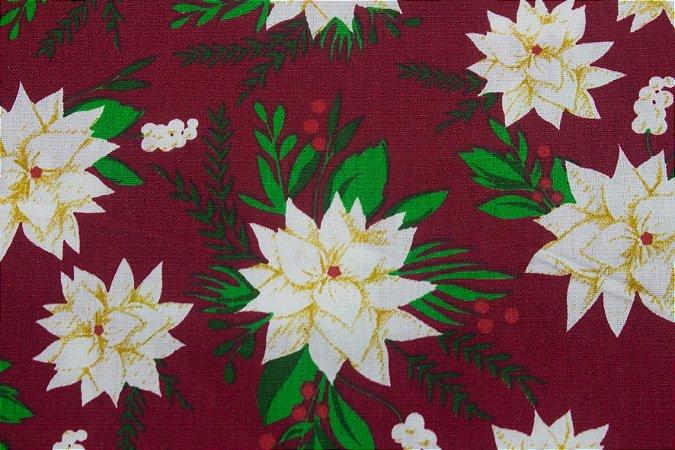 Tricoline Flores Brancas Natalinas Fundo Vermelho ( 0,50 m x 1,40 m )