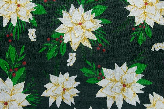 Tricoline Flores Brancas Natalinas Fundo Verde ( 0,50 m x 1,40 m )