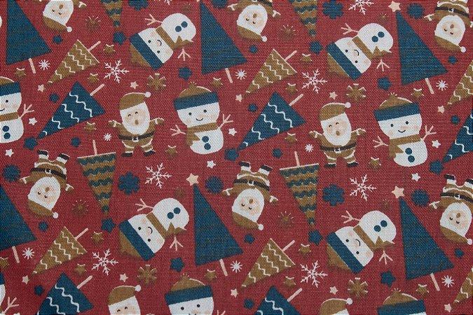 Tricoline Boneco De Neve E Papai Noel Fundo Vermelho ( 0,50 m x 1,40 m )