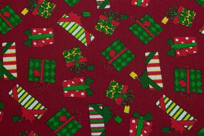 Tricoline Presentes De Natal Fundo Vermelho ( 0,50 m x 1,40 m )