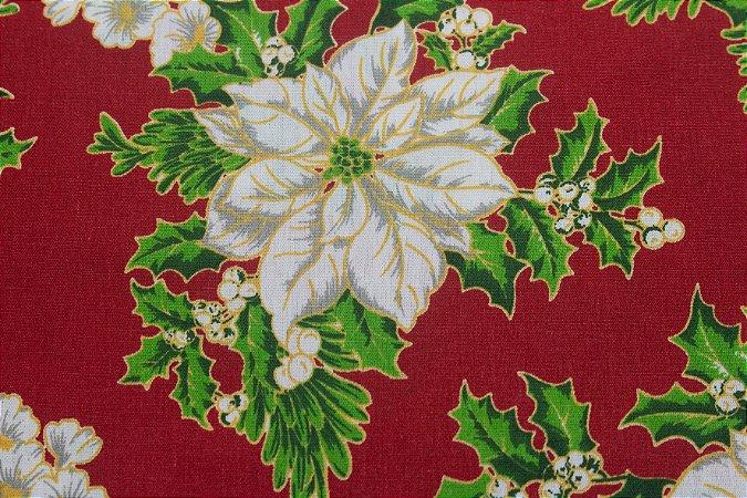 Tricoline Flores E Viscos Fundo Vermelho ( 0,50 m x 1,40 m )
