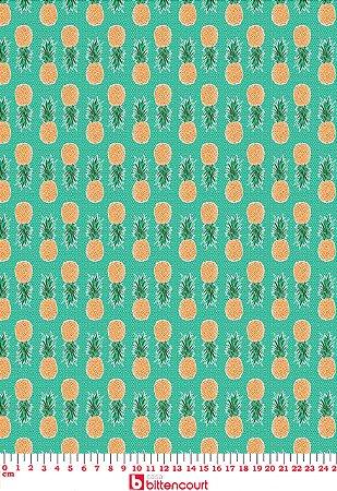 Tricoline Abacaxi Fundo Verde Círculo 325244 - Cor 1525 ( 0,50 m x 1,40 m )