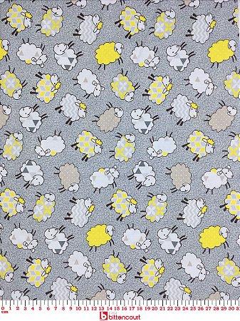 Tricoline Ovelhinhas Cinza Com Amarelo Caldeira 180584 ( 0,50 m x 1,40 m )
