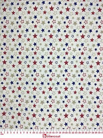 Tricoline Estrelas Azul Marinho, Bege e Vermelho Caldeira ( 0,50 m x 1,40 m )