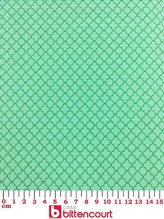 Tricoline Geométrico Trevo Quatro Folhas Verde ( 0,50m x 1,40 m )