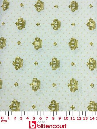 Tricoline Coroa Dourada Fundo Branco X5 ( 0,50 m x 1,40 m )