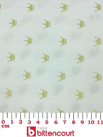 Tricoline Coroa Dourada Fundo Off White Fernando Maluhy ( 0,50 m x 1,40 m )