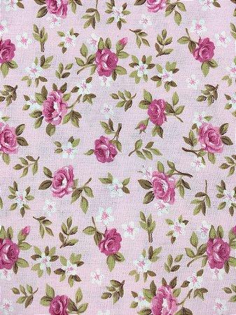 Tricoline Floral Rosa Fundo Rosa Caldeira ( 0,50 m x 1,40 m )