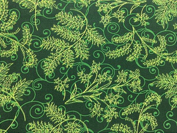 Tricoline Ramos Dourados com Fundo Verde ( 0,50 m x 1,40 m )