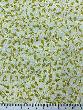 Tricoline Raminhos com Glitter Dourado Fundo Off-White ( 0,50 m x 1,40 m )