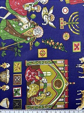 Tricoline 3 Reis Magos Fundo Azul Marinho ( 0,50 m x 1,40 m )