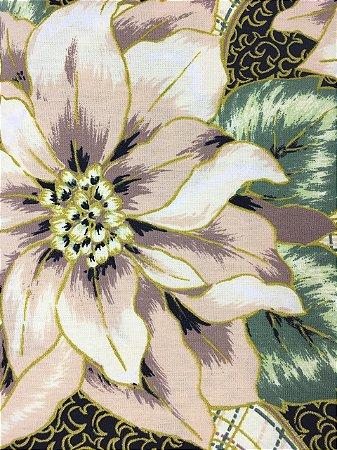Tricoline Floral Natalino Fundo Preto com Fio Dourado ( 0,50 m x 1,40 m )