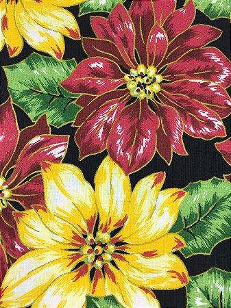 Tricoline Floral Misto Natalino com Fundo Preto ( 0,50 m x 1,40 m )