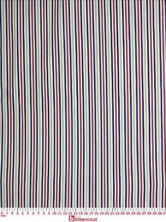 Tricoline Listras Azul Marinho, Bege e Vermelho Caldeira ( 0,50 m x 1,40 m )