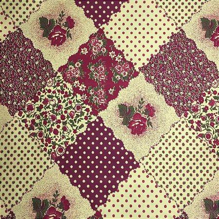 Tricoline Patchwork Tons de Vermelho e Bege ( 0,50 m x 1,40 m )