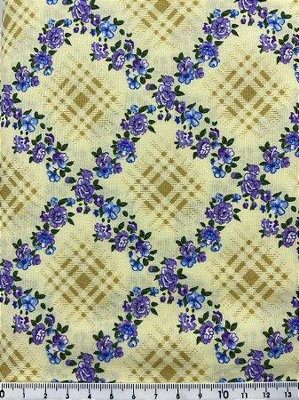 Tricoline Patchwork Floral e Xadrez ( 0,50 m x 1,40 m )