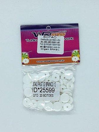 Botão de Plástico Branco Westpress 12 ( pct com 20 unidades )