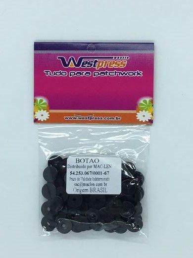Botão de Plástico Preto Westpress 12 ( pct com 20 unidades )