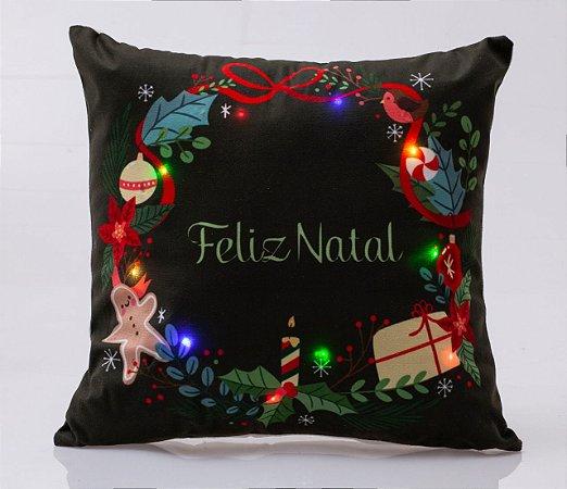 Capa para Almofada Natalina com LED Noite Feliz 2 ( 44 cm x 44 cm )