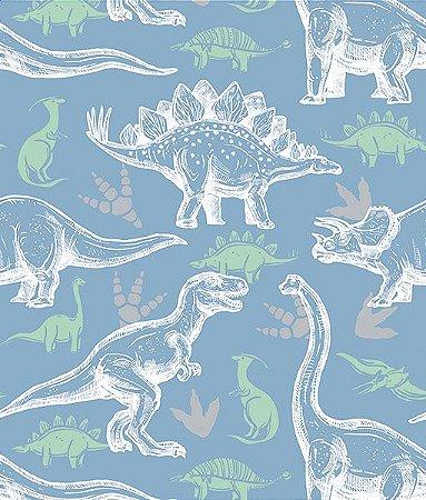Adesivo de Parede Dinossauro Fundo Azul DC0032 ( 0,52 m x 3,0 m )