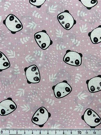 Tricoline Pandas fundo rosa bebê Dohler  ( 0,50 m x 1,40 m )