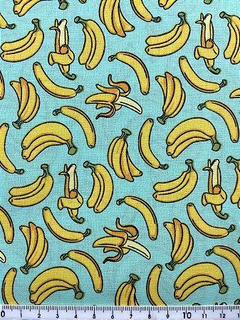 Tricoline Bananas fundo Tiffany ( 0,50 m x 1,40 m )