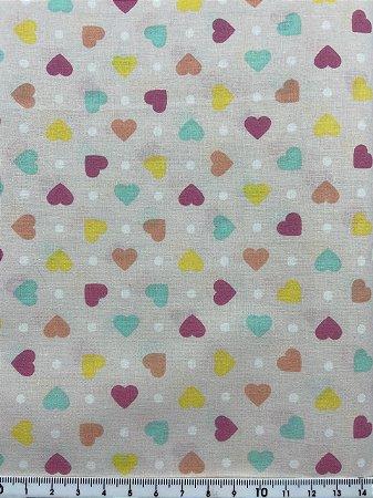 Tricoline Corações coloridos fundo rosa  ( 0,50 m x 1,40 m )