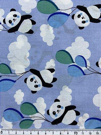 Tricoline Panda com Balões fundo azul ( 0,50 m x 1,50 m )