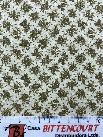 Tricoline florzinha marrom escuro fundo bege ( 0,50 m x 1,40 m )