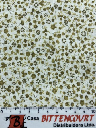 Tricoline florzinhas tons de bege fundo off ( 0,50 m x 1,40 m )