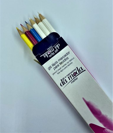 Giz Lápis Marcador para Tecidos - Caixa com 12 unidades ( CORES SORTIDAS )