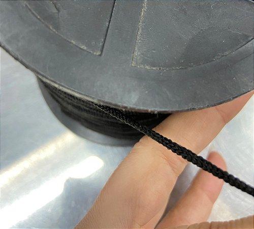 Elástico roliço super macio 2 mm preto ( peça com 10 metros )