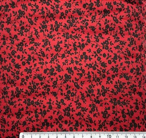 Tricoline Florzinhas Pretas Fundo Vermelho Cereja  ( 0,50 m x 1,40 m )