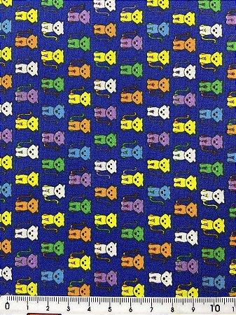 Tricoline Gatinhos Coloridos Fundo Azul ( 0,50 m x 1,40 m )