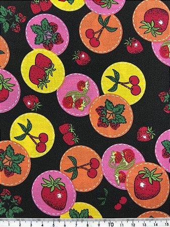 Tricoline Frutas Vermelhas Fundo Preto( 0,50 m x 1,40 m )